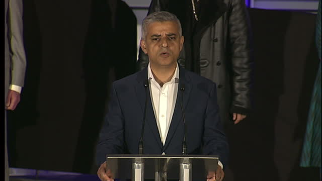 Interior shots of Sadiq Khan being declared winner of the London Mayoral elections and making a victory speech on May 06 2016 in London England