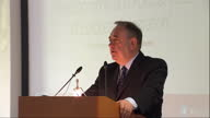 Interior shots of Scotlands First Minister Alex Salmond delivering his speech at the College of Europe on April 28 2014 in Brugge Belgium