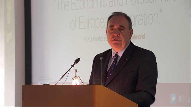 Interior shots of Scotland's First Minister Alex Salmond delivering his speech at the College of Europe on April 28 2014 in Brugge Belgium
