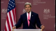 Interior shots of Senator John Kerry speaking about people standing up against use of Chemical weapons and how the only way to resolve the Syrian...