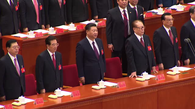 Interior shots of senior Communist Party leaders standing during the 19th national congress of the Communist party of China including chairman of the...