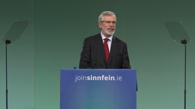 Interior shots of Sinn Fein president Gerry Adams addressing the Sinn Fein party conference on November 18 2017 in Dublin Ireland