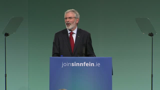 Interior shots of Sinn Fein president Gerry Adams addressing the Sinn Fein party conference and announcing that this will be his last conference as...
