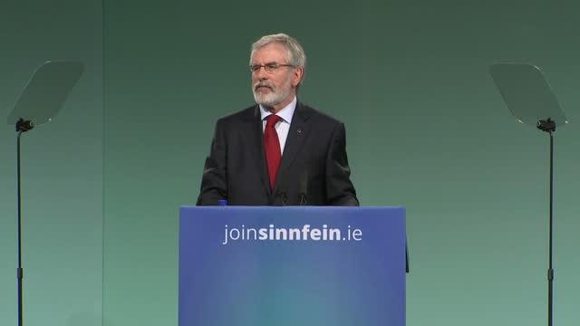 Interior shots of Sinn Fein president Gerry Adams beginning his keynote speech at the Sinn Fein conference on November 18 2017 in Dublin Ireland