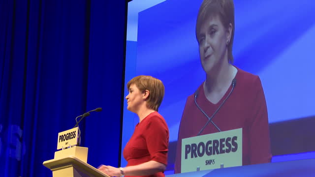 Interior shots of SNP Leader Nicola Sturgeon giving speech during annual SNP conference on 10th October 2017 Glasgow Scotland