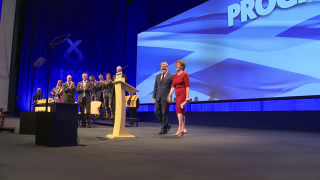 Interior shots of SNP Leader Nicola Sturgeon walking out onto stage for speech during annual conference on 10th October 2017 Glasgow Scotland