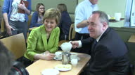 Interior shots of SNP's Nicola Sturgeon and Alex Salmond meeting voters in a cafe on April 19 2015 in Inverurie Scotland