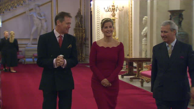 Interior shots of Sophie Countess of Wessex arriving and being introduced to members of the BBC Doctor Who production team at a reception to...