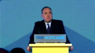 Interior shots of Speech by First Minister Alex Salmond 'A Turnout off 86% is one of the highest in the Democratic world for any election or any...