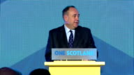 Interior shots of Speech by First Minister Alex Salmond CLEAN 'The Unionist Parties made vow's late in the campaign to devole more powers to Scotland...