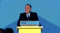 Interior shots of Speech by First Minister Alex Salmond ' I call on all of Scotland to follow suit and accepting the Democratic verdict of the people...