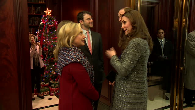 Interior shots of the Duke and Duchess of Cambridge meeting Hillary Clinton US Secretary of State and Chelsea Clinton and her husband Marc Mezvinsky...