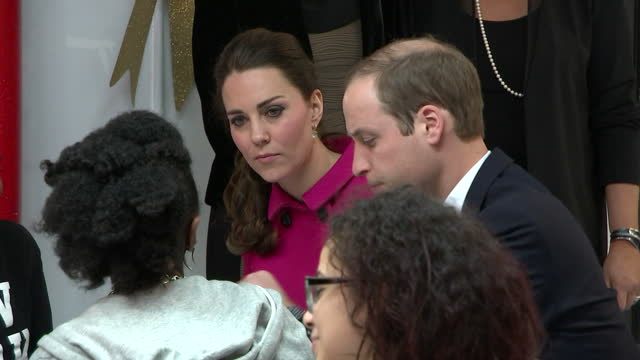 Interior shots of the Duke and Duchess of Cambridge meeting young people at The Door youth centre>> on December 09 2014 in New York United States