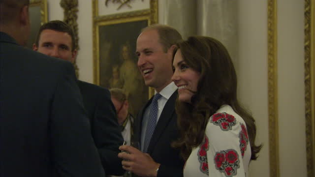 Interior shots of the Duke and Duchess of Cambridge speaking to members of Team GB and Paralympics GB during a reception at Buckingham Palace>> on...