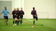 interior shots of the England Women's Football team training on an indoor astro turf at St Georges Park on day of Prince William's Visit on May 20...
