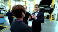 Interior shots of the Liberal Democrats leader Nick Clegg visiting mechanics workshop at the MidKent College on April 13 2015 in London England