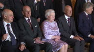 Interior shots of The Queen and Duke of Edinburgh meeting guests at the Order of Merit Reception at Windsor Castle including Sir David Attenborough...