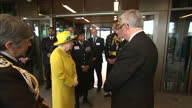 Interior shots of The Queen and Duke of Edinburgh meeting Metropolitan Police officials on a visit to the new Scotland Yard HQ on 13 July 2017 in...