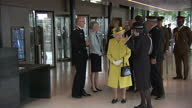 Interior shots of The Queen and Duke of Edinburgh visiting the new headquarters of Scotland Yard meeting Assistant Commissioner Mark Rowley and...