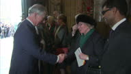 Interior shots of The Queen Camilla and Prince Charles meeting people in Westminster Abbey on arrival at Commonwealth Day service Queen attends...