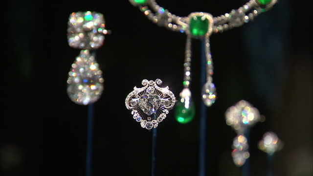 Interior shots of the Queen's diamond jewellery Queen's Diamond Jewellery on Display on June 28 2012 in London England