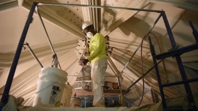 Interior shots of the restoration project at St Patricks Cathedral in midtown Manhattan New York US on April 7th 2015 Shots Construction workers...