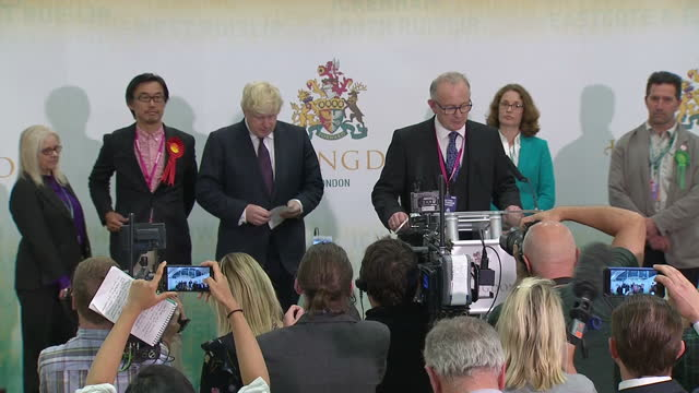 Interior shots of the Uxbridge election result being read out and Boris Johnson being declared the winner on 9 June 2017 in London United Kingdom