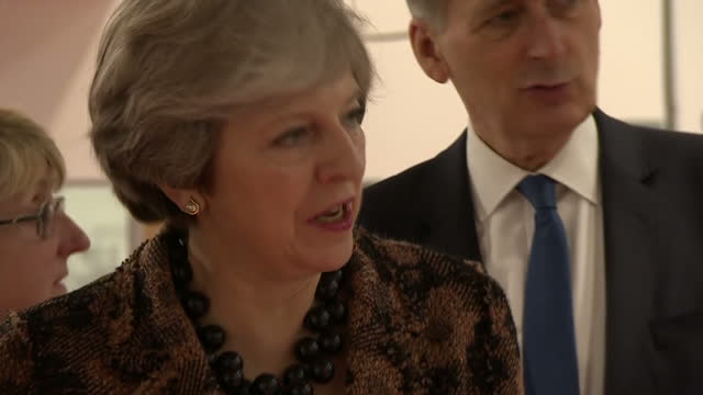 Interior shots of Theresa May Chancellor Philip Hammond and Business Secretary Greg Clark touring the EEF Technology Hub on November 20 2017 in...