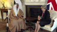 Interior shots of Theresa May sitting down for a bilateral meeting with Sheikh Mohamed bin Zayed Al Nahyan Crown Prince of Abu Dhabi at Number 10...