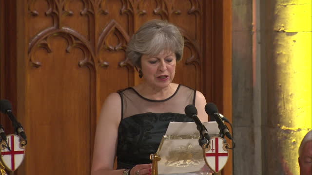 Interior shots of Theresa May speaking on the Rohingya refugee crisis during her speech at the Lord Mayor's Banquet 'And I am committed to deepening...