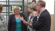 Interior shots of Theresa May visiting a Dunelm store during campaigning in Nottingham accompanied by her husband Philip May and speaking to...
