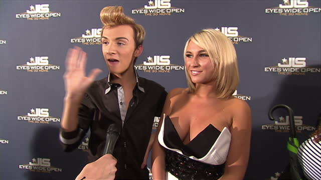 Interior shots of TOWIE celebrities Harry Derbridge Sam Faiers giving an interview at 'Eyes Wide Open' premiere at The Soho Hotel on May 26 2011 in...