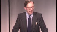Interior shots of Transport Secretary Malcolm Rifkind making a speech at a press conference after the channel tunnel breakthrough the tunnel now...