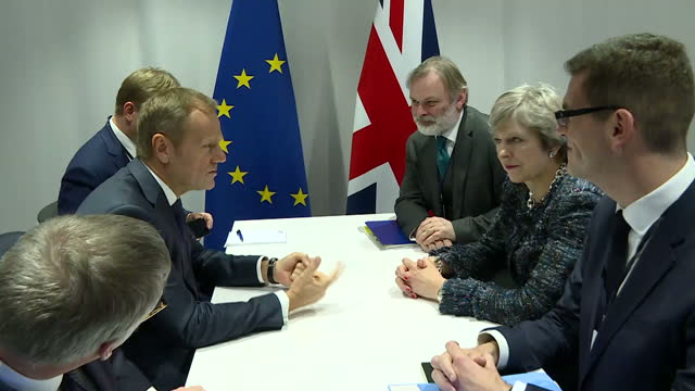 Interior shots of UK Prime Minister Theresa May and European Council President Donald Tusk speaking during a bilateral meeting at the EU social...
