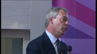 Interior shots of UKIP leader Nigel Farage speaking at a public meeting in Thanet Kent speaking on the EU referendum and the BBC on April 18 2015 in...