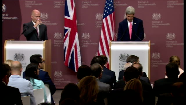 Interior shots of US News reporter asking Senator John Kerry questions about what can Assad do to stop an imminent attack Kerry responds with 'hand...