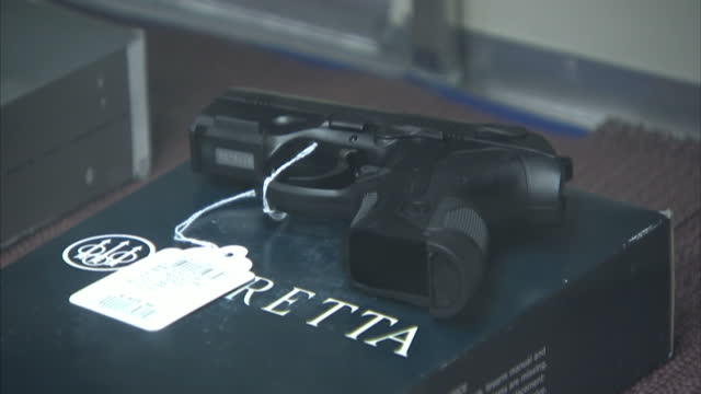 Interior shots of various semi automatic rifles and handguns on display in a Virginia gun shop on January 16 2013 in Arlington Virginia