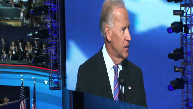 Interior shots of Vice President Joe Biden making a speech to the 2012 National Democratic Conference prior to the presidential elections speaking...