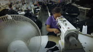 Interior shots of women working in a Rontex garment factory operating sewing machines>> on August 30 2012 in Beijing China