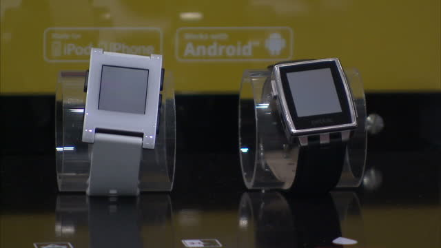Interior shots pebble smart watch being shown at Mobile World Congress Interior shots Android Smart Watches on display on March 03 2015 in Barcelona...