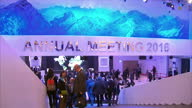 Interior shots people walking around the building hosting the 2016 World Economic Forum on January 21 2016 in Davos Switzerland
