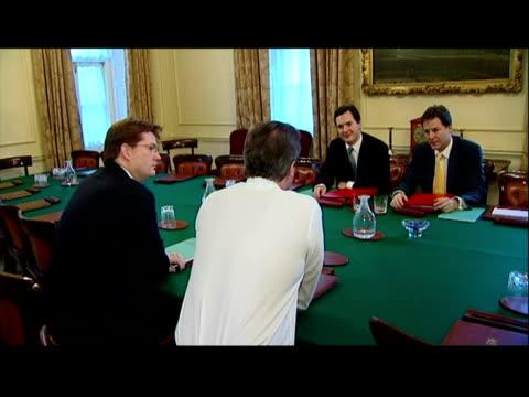 Interior shots Prime Minister David Cameron Chancellor George Osborne Deputy Prime Minister Nick Clegg Chief Secretary to the Treasury Danny...