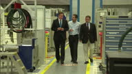 Interior shots Prime Minister David Cameron chats to staff as he tours Airbus Factory in Bristol David Cameron Visits Airbus on April 23 2012 in...
