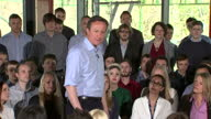 Interior shots Prime Minister David Cameron leader of Conservative Party addressing audience at TPP in Horsforth on April 21 2015 in Horsforth England