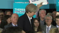 Interior shots Prime Minister Theresa May speaks at Stockport presser re General Election 2017 campaigning 'strong and stable government' answers...
