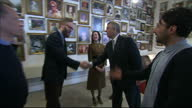 Interior shots Prince Andrew Duke of York arrives at Tech City greets officials Interior shots Prince Andrew meets staff at the Tampery gallery...