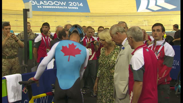 Interior shots Prince Charles and Camilla Duchess of Cornwall visit cyclists at Glasgow Commonwealth Games