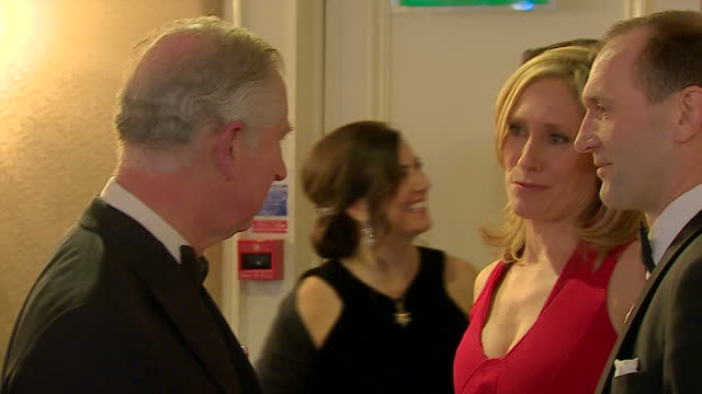 Interior shots Prince Charles greeting and talks to Sophie Raworth broadcaster and Prince's Trust Ambassador stood with unknown man