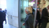 Interior shots Prince Charles Prince of Wales and Camilla Duchess of Cornwall depart BBC New Broadcasting House shaking hands with Lord Patten on in...