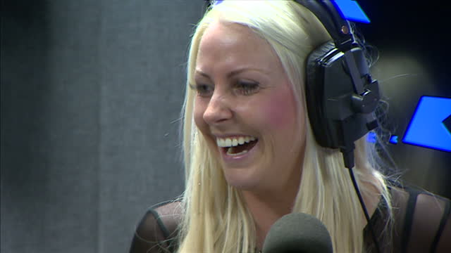 Interior shots Prince Charles Prince of Wales and Camilla Duchess of Cornwall on visit to Bauer Radio studios talk with the Kiss Breakfast DJs Rickie...